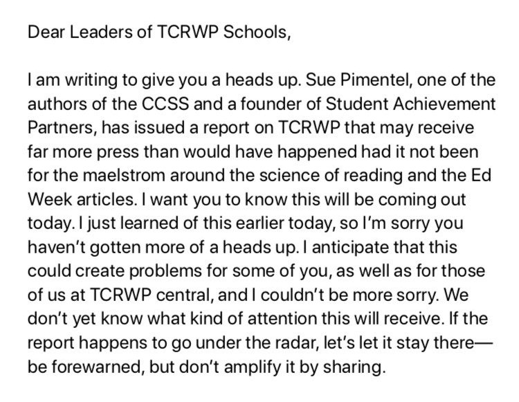 About the letter to TCRWP